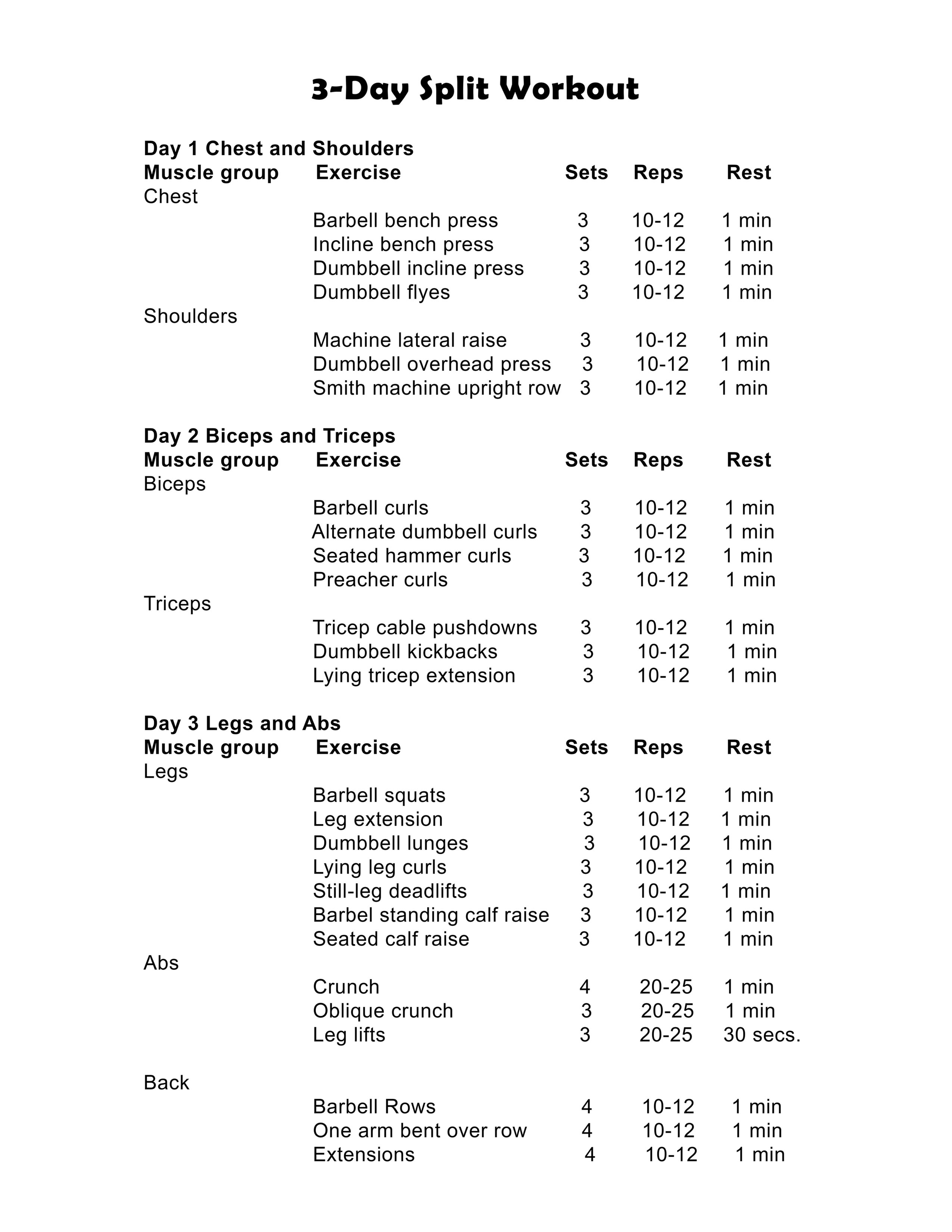 3 day split workout chart you can download and print.