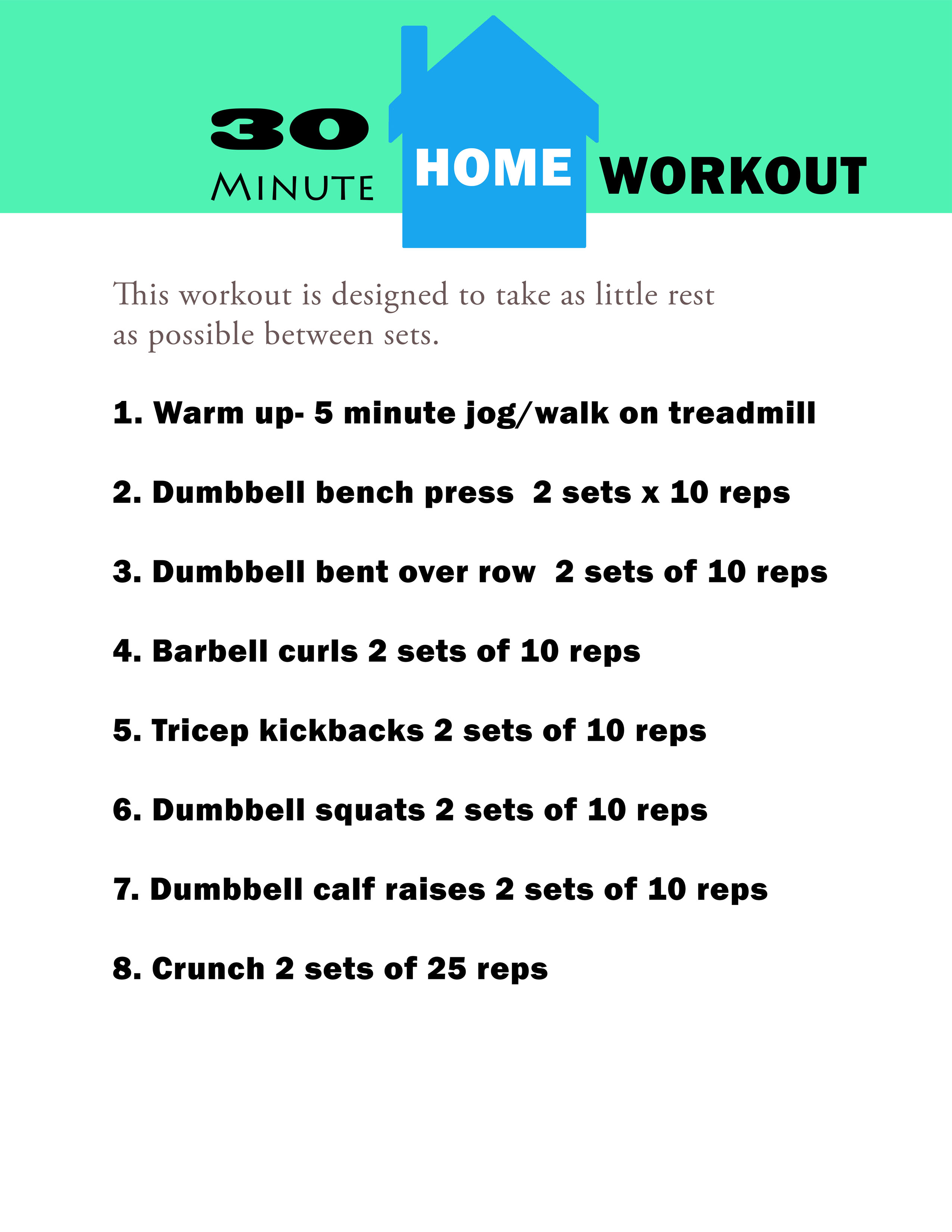 30 Minute Home Workout You Can Download And Print Cardio