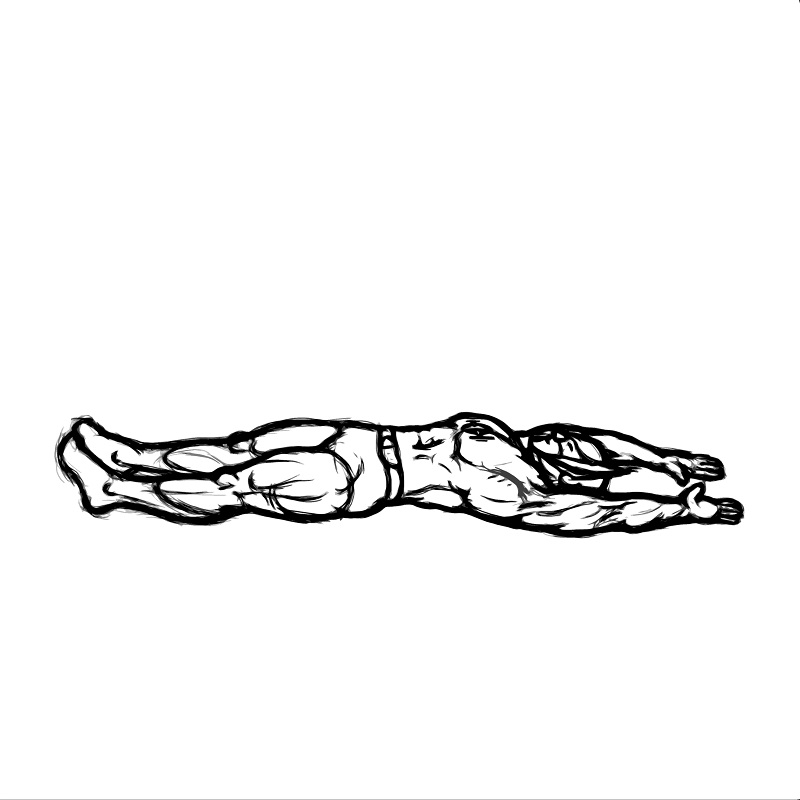 Illustration of abdominal stretch exercise.