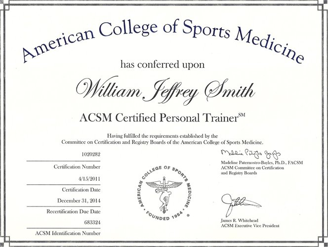Image of one of the certifications to become a personal trainer.