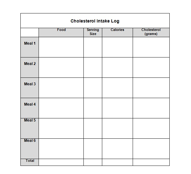 Cholesterol intake log sheet you can download and print.