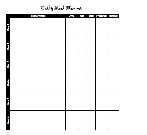 Sample meal plan sheet.