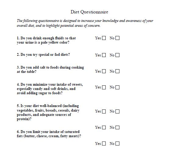 Healthily Lose Weight Fast: Part 7 Weight loss assessment questionnaire