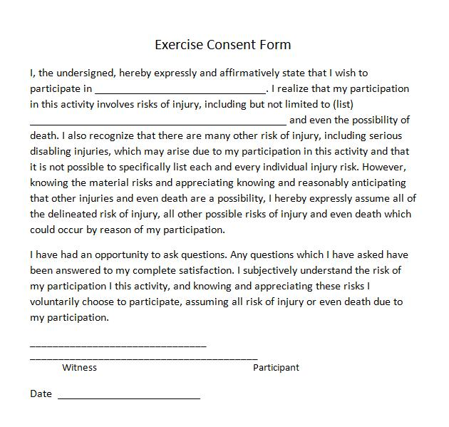 Exercise Consent Forms  Templates In Word And Pdf Format