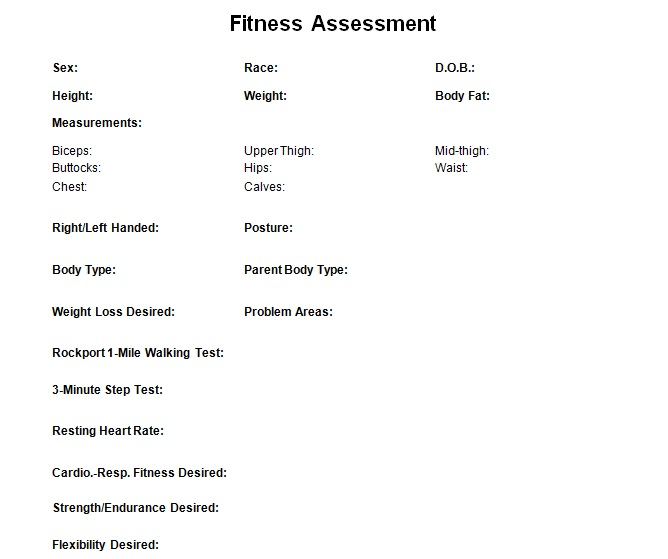 Fitness Assessment Data Sheet