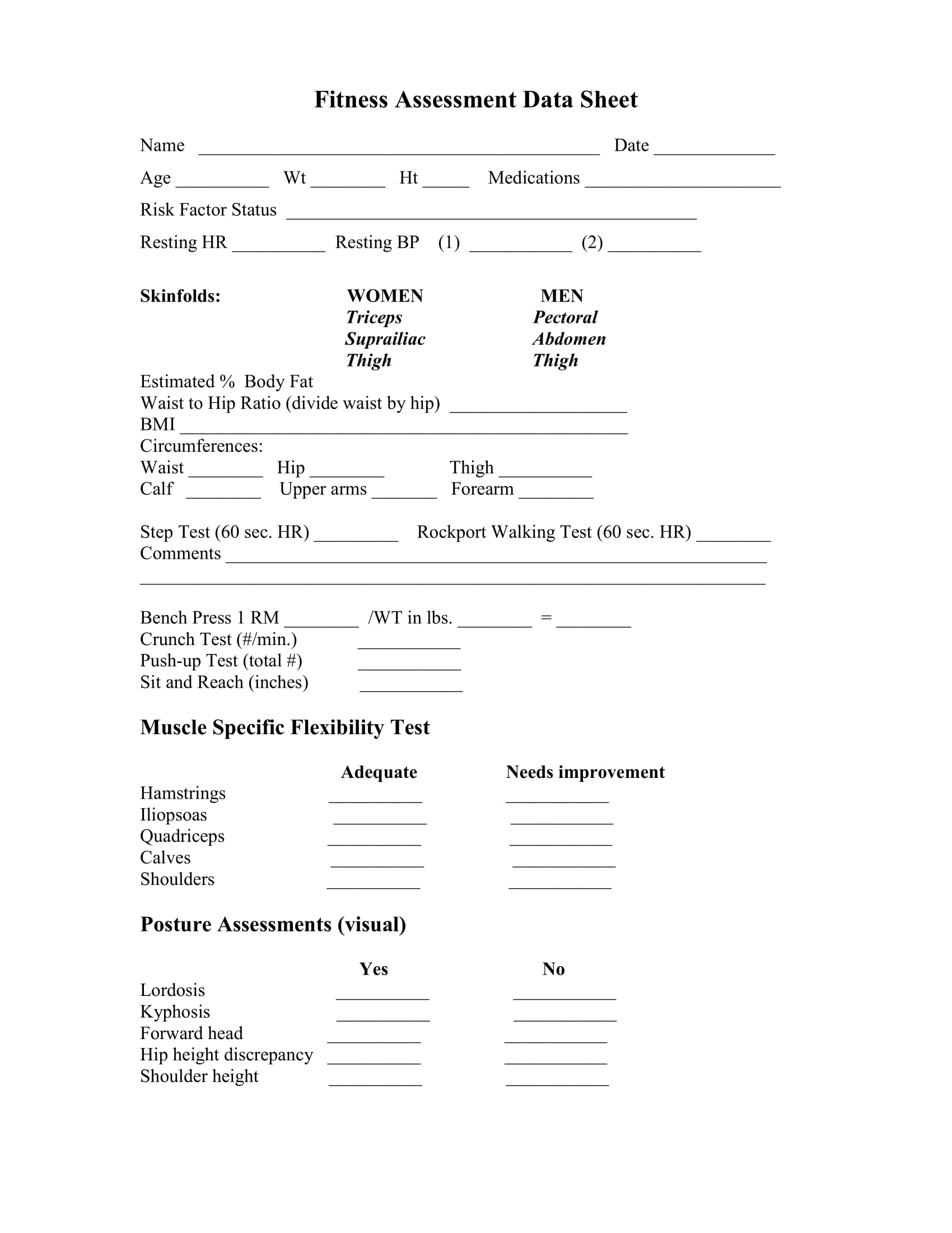 Essment Form In Pdf | Fitness Assessment Form