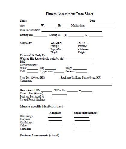 Printable Fitness Assessment Form