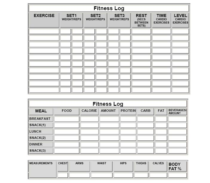Fitness Log Sheet You Can Print To Improve Your Health.  Calorie Diary Template