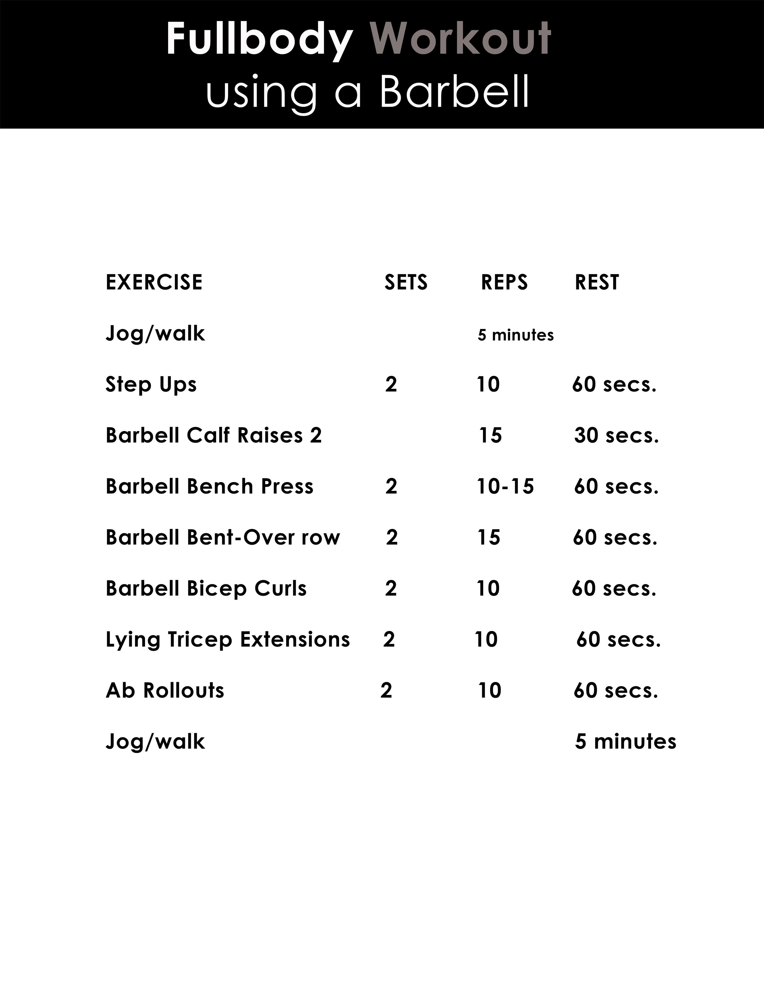 Fullbody barbell workout you can download and print.