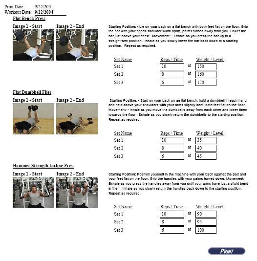 Image of a sample giant set training workout.