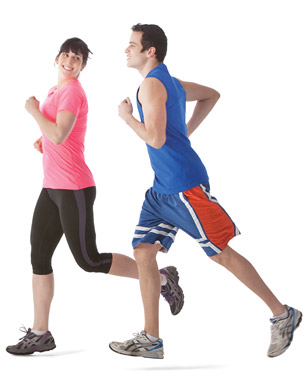 Picture of man and women doing a good running workout.