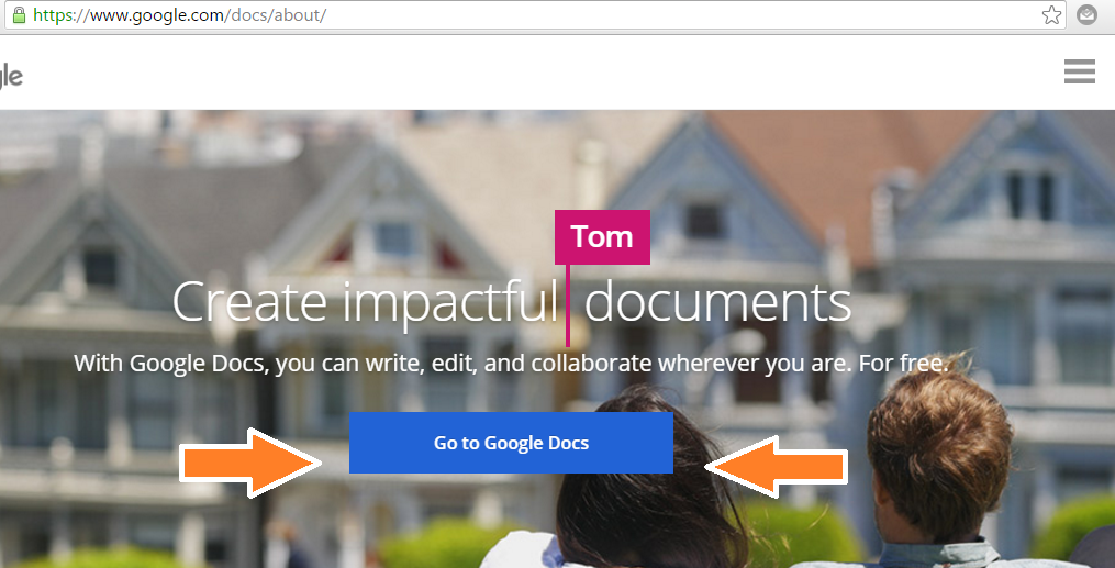 Google docs front page image