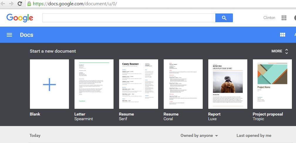 Google Docs menu image