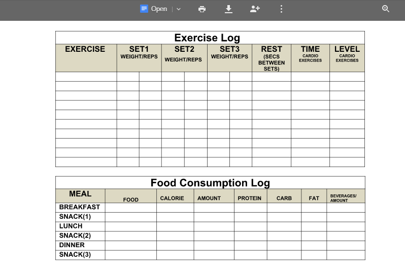 Google Docs weight loss log sheet