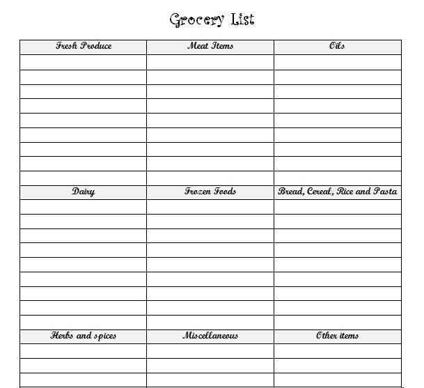 Grocery List | Printable Templates