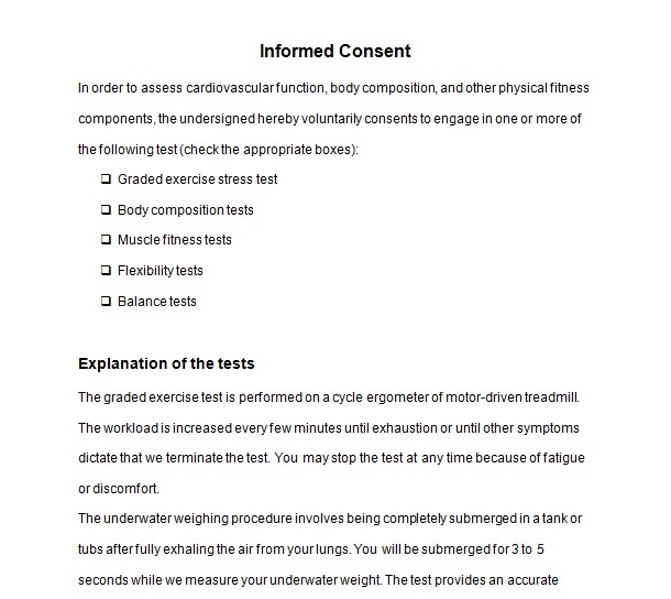 Exercise Consent Forms – Informed Consent Form