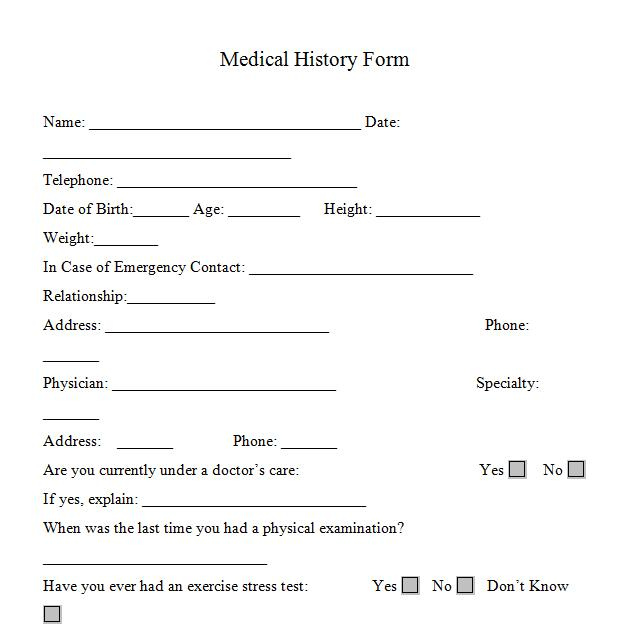 Medical History Form For Personal Trainers.  Free Printable Doctor Forms