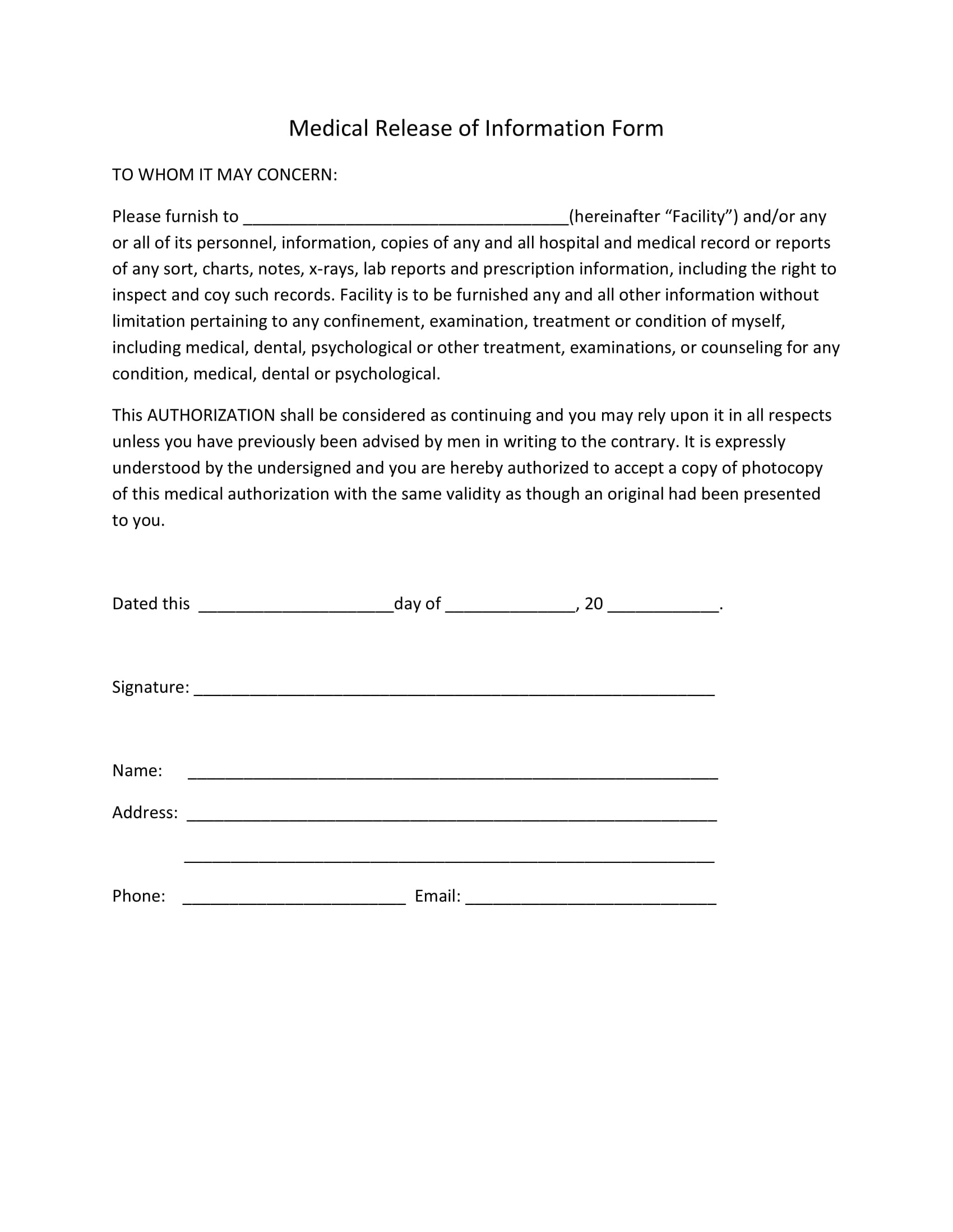 Medical Release of Information Form for Personal Trainer