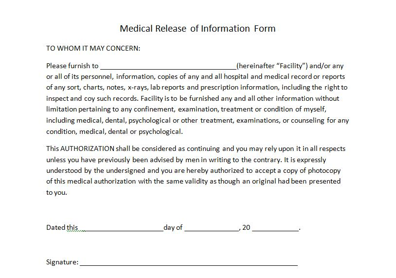 Good Medical Release Of Information Form Generic