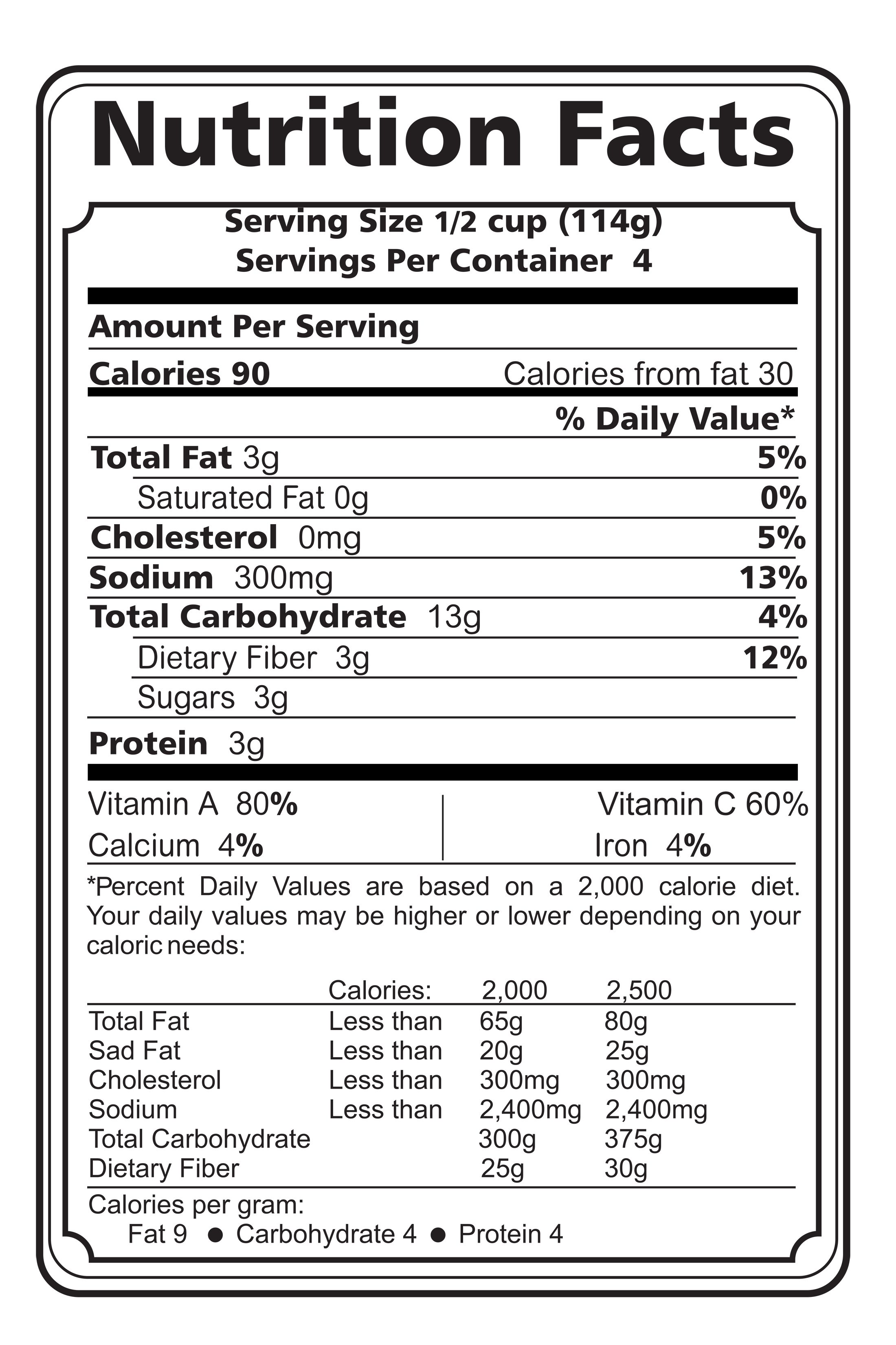 Nutrition Food Label that you can download and print. (8.5
