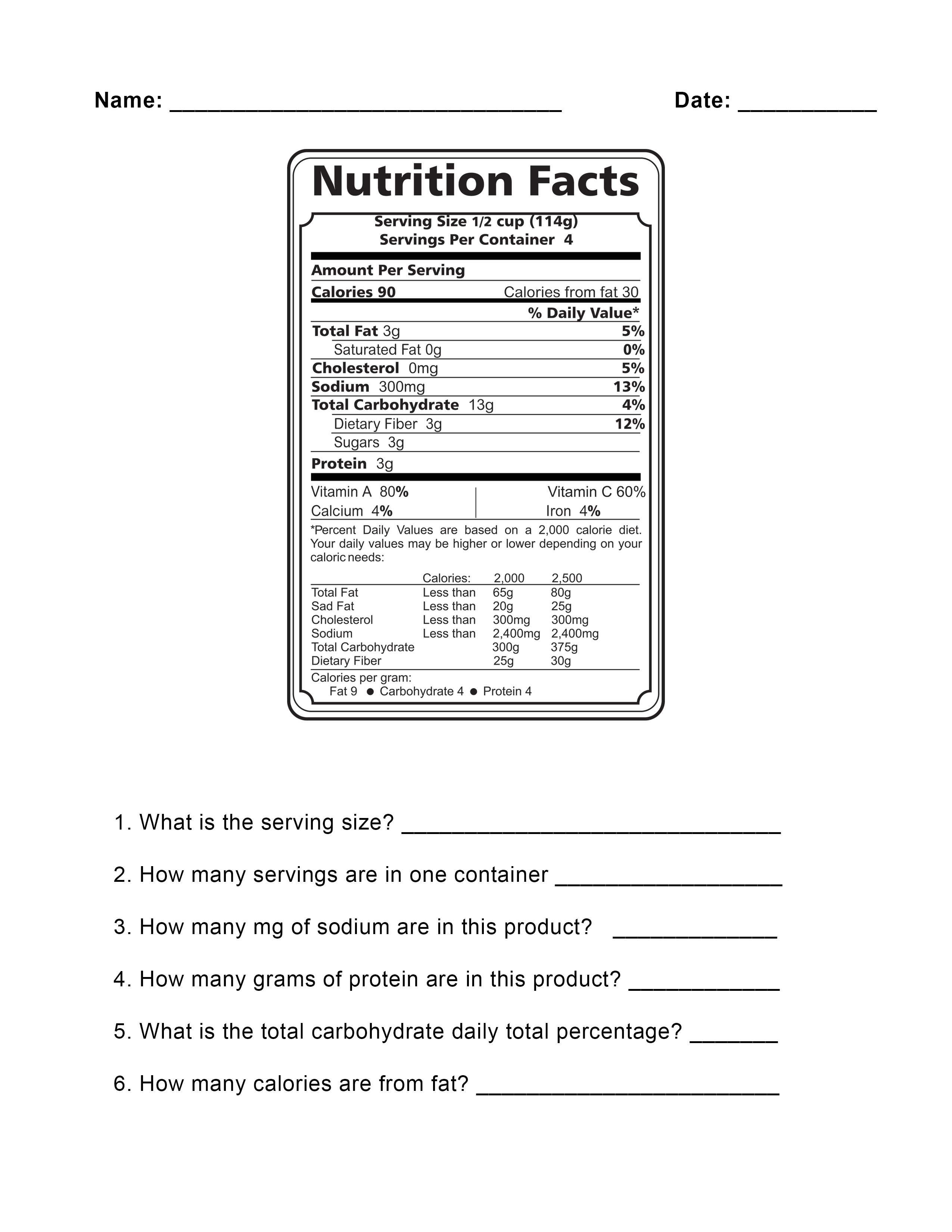 Nutrition food label worksheet you can download and print.