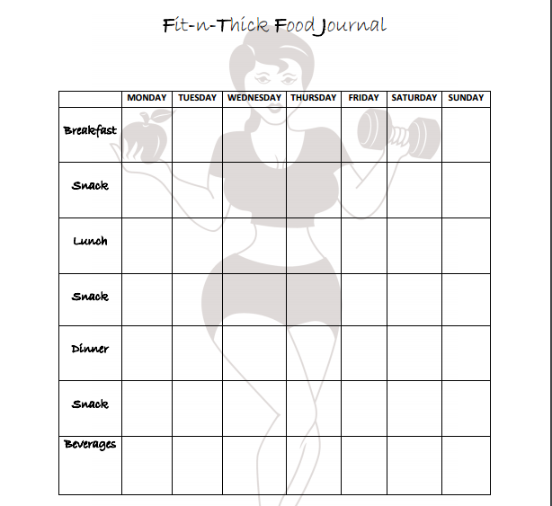 Printable fitness journal for plus size women.