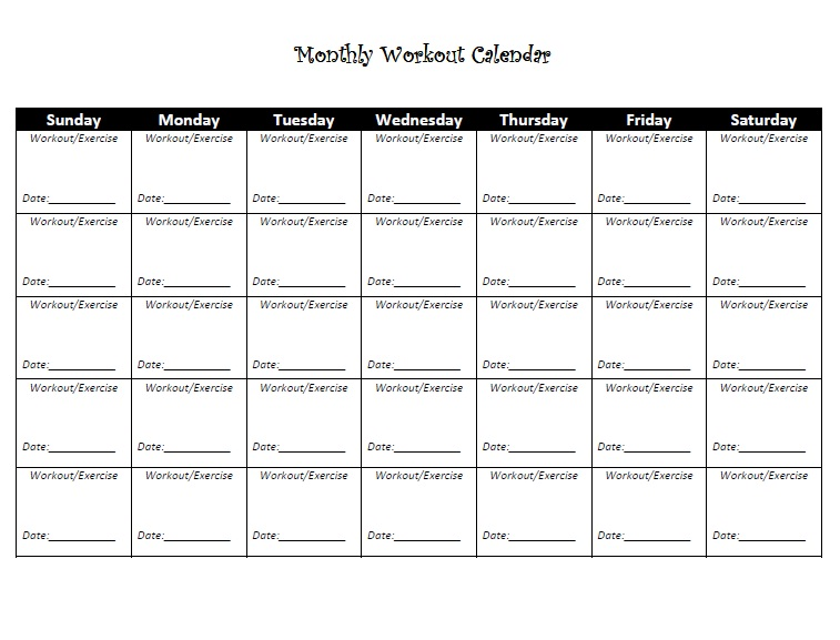 Exercise Calendar | Daily, Monthly And Weekly | Printable And