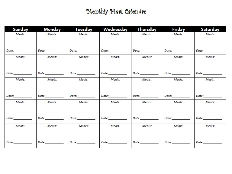 Meal Calendar | Printable Monthly Template