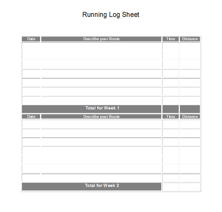 Printable Running Log Sheets
