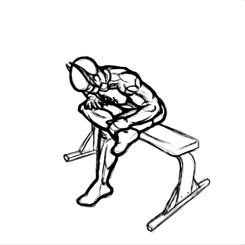 Illustration of seated hip stretch exercise.