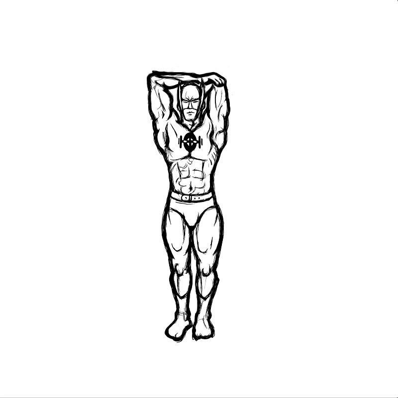 Illustration of standing tricep stretch exercise.