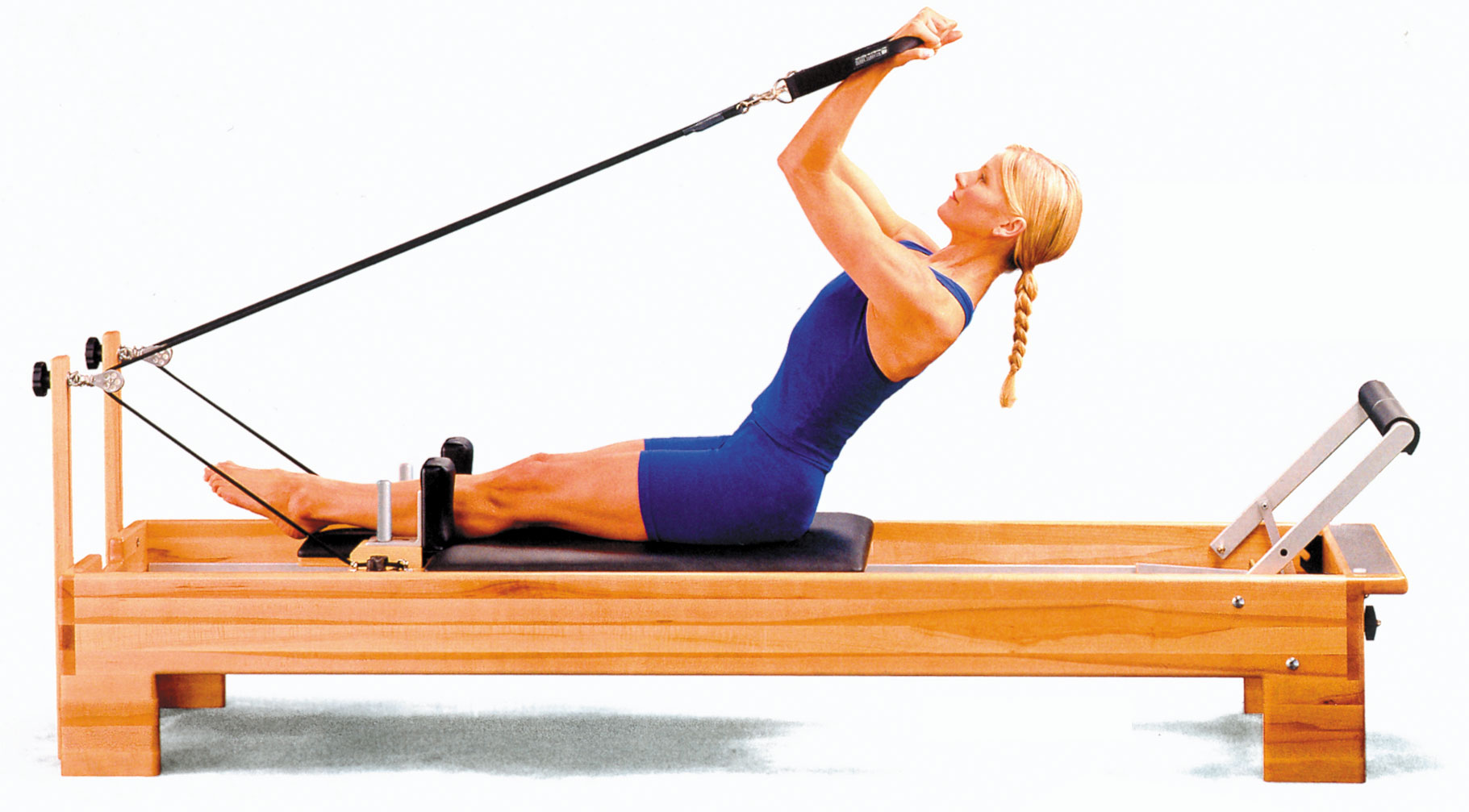 Great pilates exercises using a reformer apparatus.