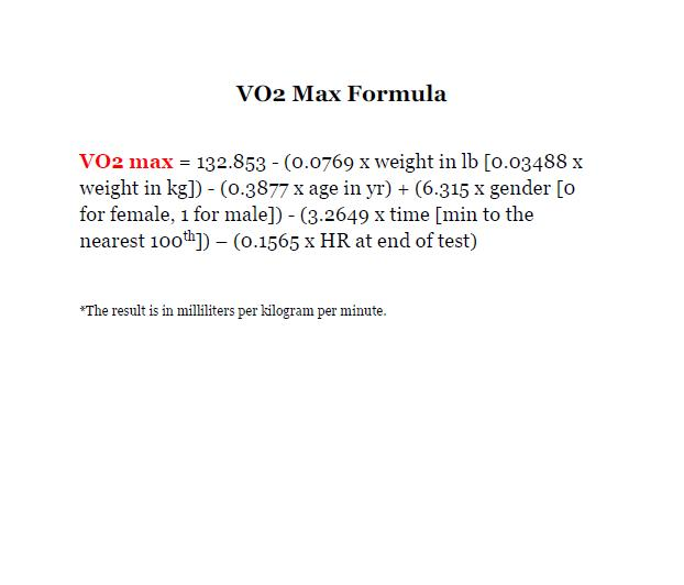 Formula to calculate your vo2 max for the Rockport walking test.