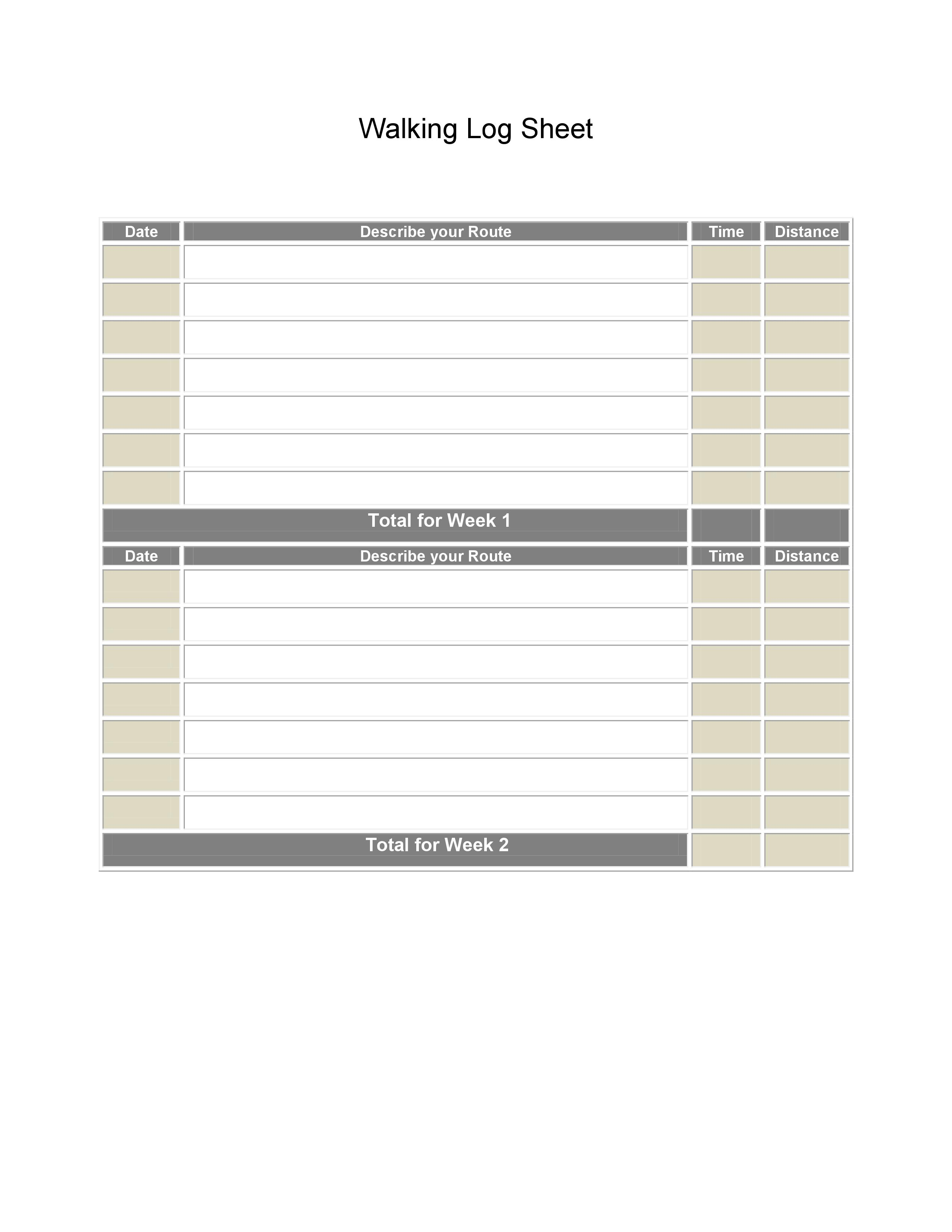 photo about Log Sheets Template called Printable Strolling Log Sheets