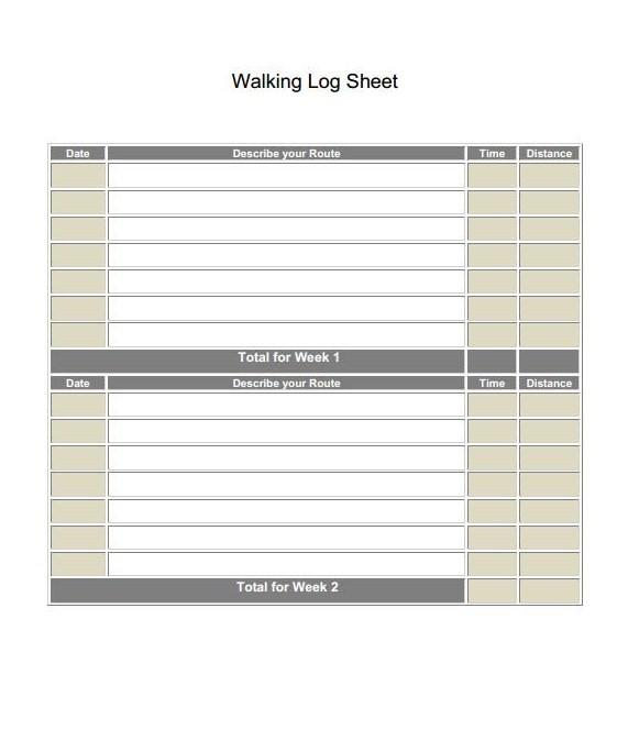 Download Walking Log Sheets Template