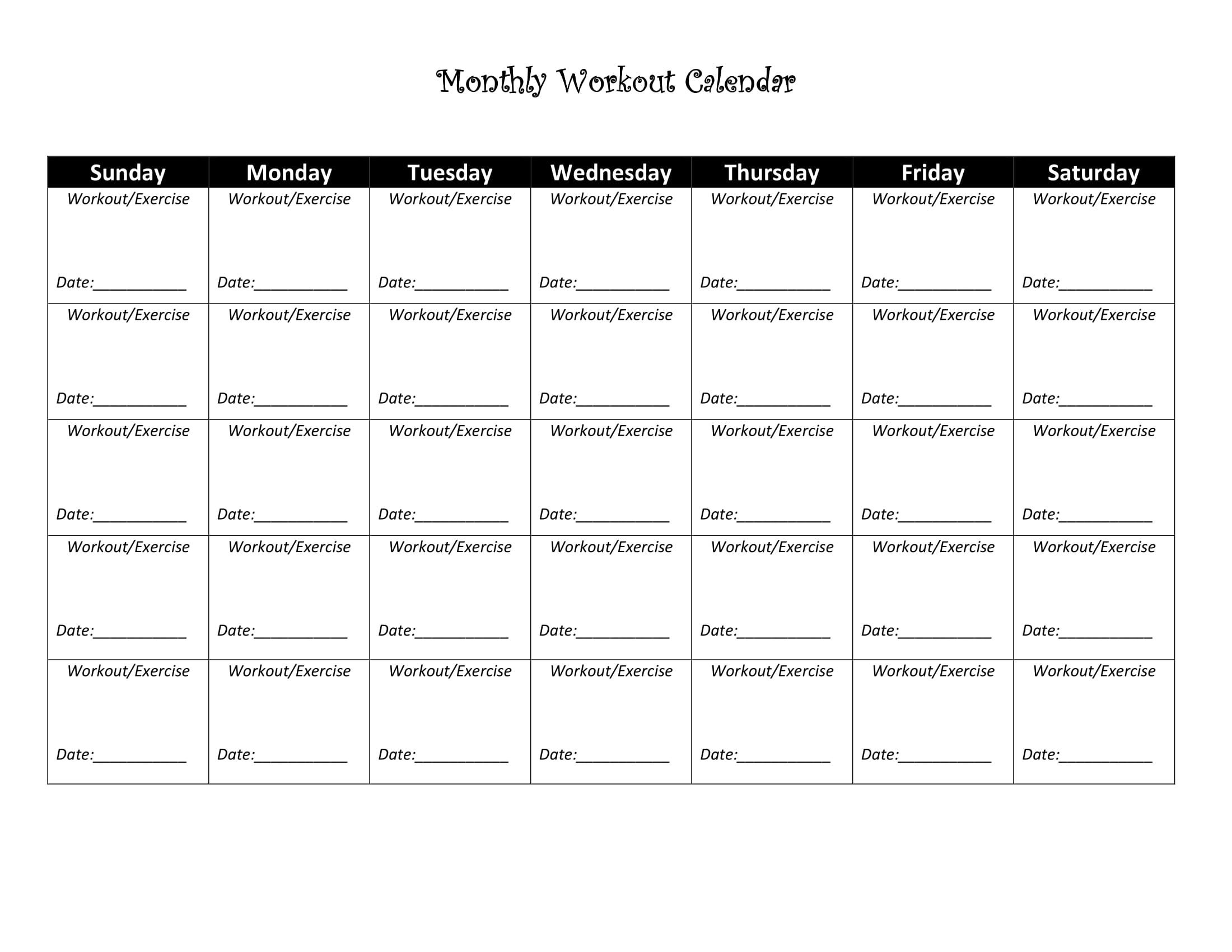 It is an image of Printable Workout Sheets inside planner