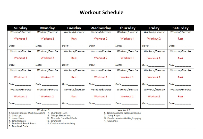 Workout Schedule That You Can And Print