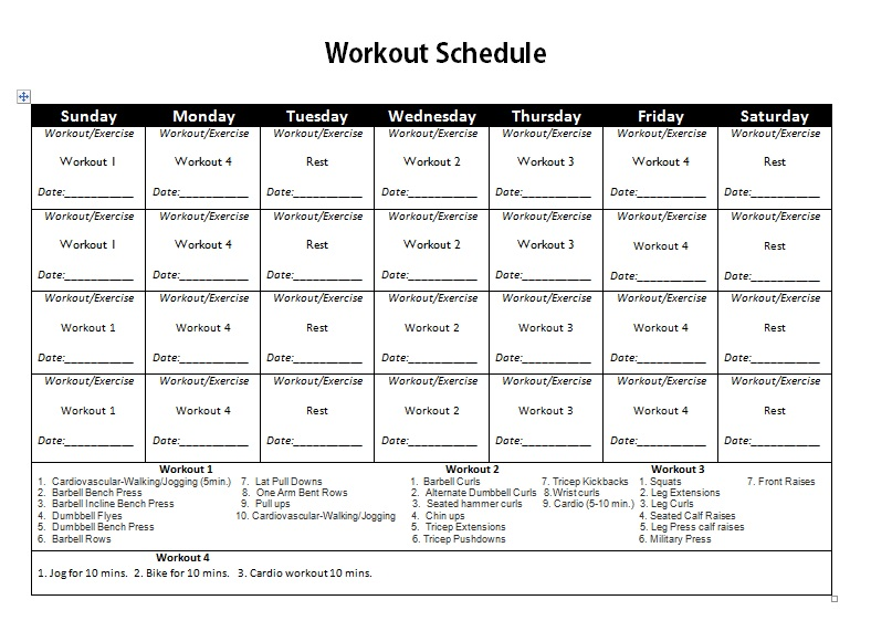 Weight Lifting Routine Chart